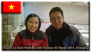 Huyen from Vietnam with Bhutan Rebirth representative Keshav